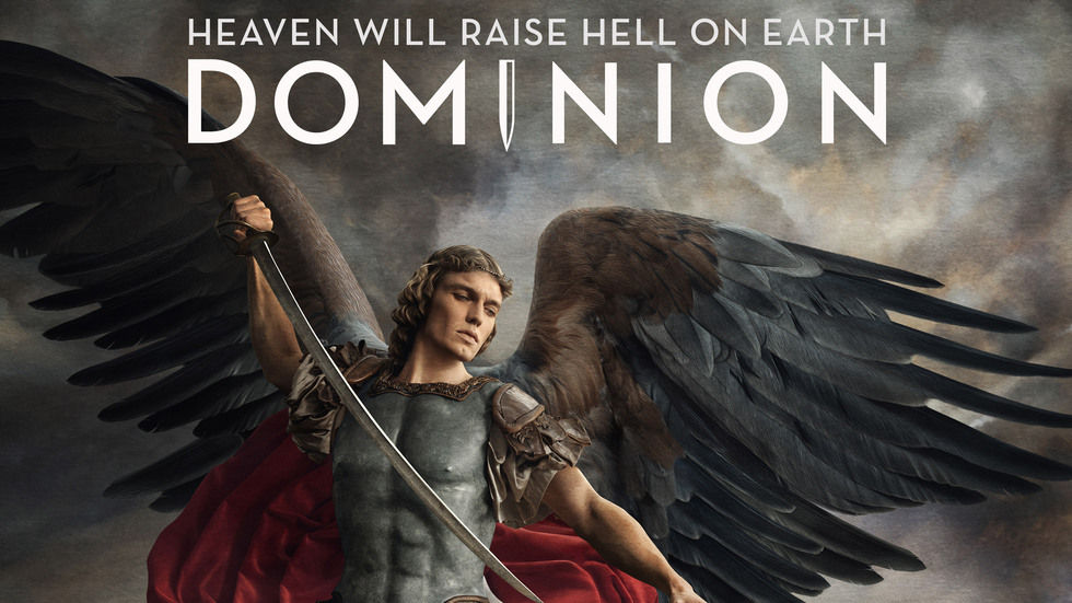 Dominion poster angel and headline