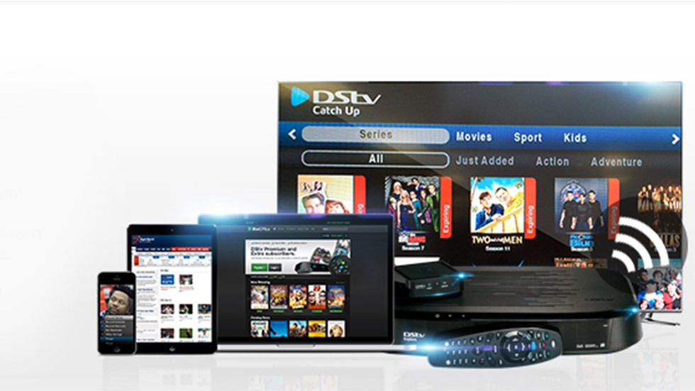 Image of flatscreen TV, mobile devices, tablets and DStv Explora with connected services.