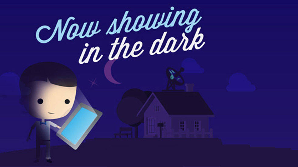 Cartoon man holding iPad while the lights are out from the infographic.