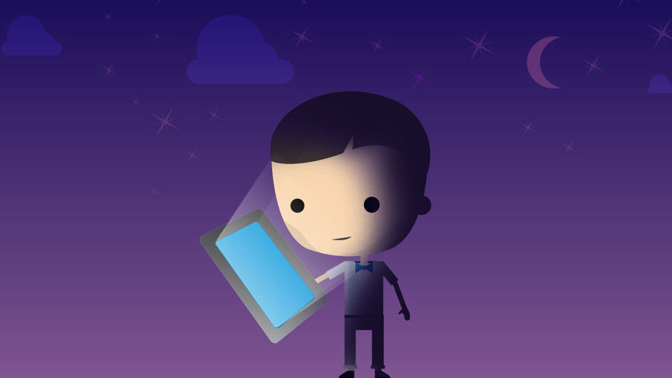 A cartoon graphic of a man holding a tablet with a blue screen on a purple background