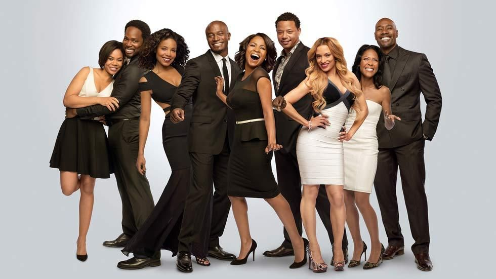 The cast of The Best Man Holiday, including Taye Diggs, Nia Long and Morris Chestnut