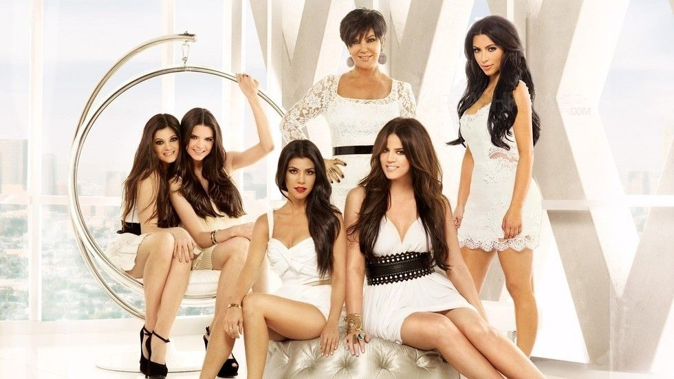 The Kardashian women in white: Kylie, Kendall, Courtney, Kris, Kloe, Kim