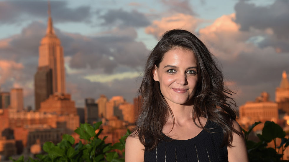 Katie Holmes with the city in the background.