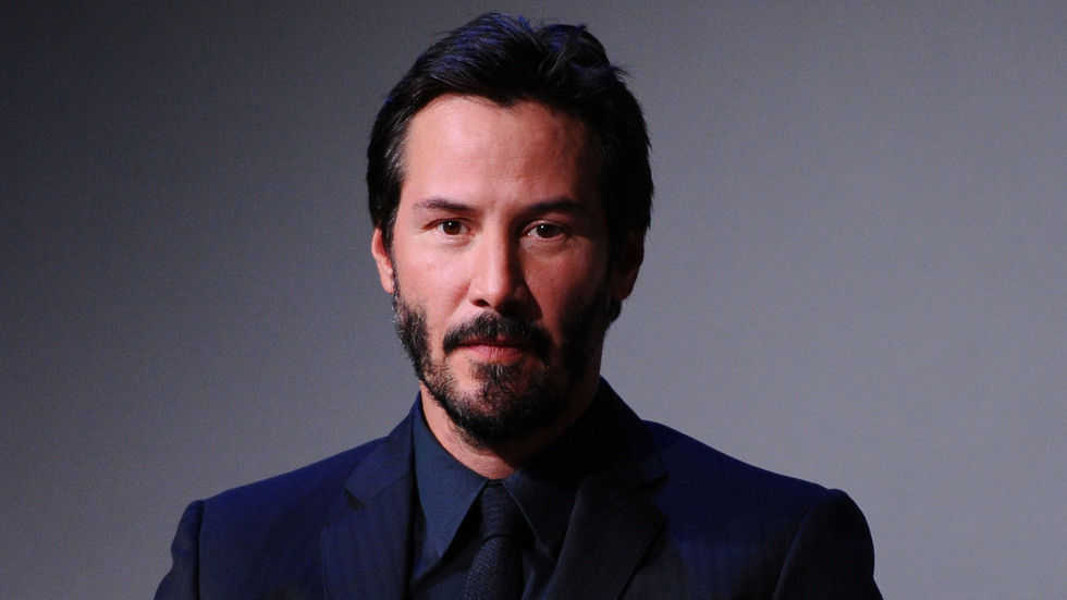 Keanu Reeves portrait, grey background