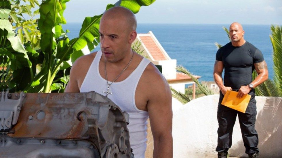 Vin Diesel and Dwayne Johnson in Fast and Furious