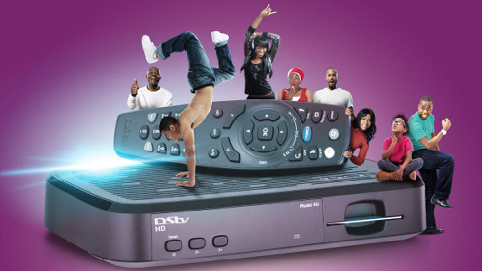 The new DStv HD decoder promo image for Angola. People animated and jumping around teh decoder