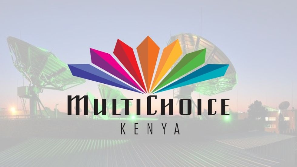 MultiChoice Kenya Logo with a satellite field background