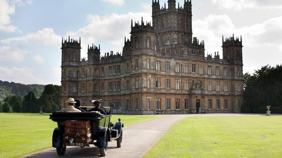 A scene from the TV drama, Downton Abbey, with the castle