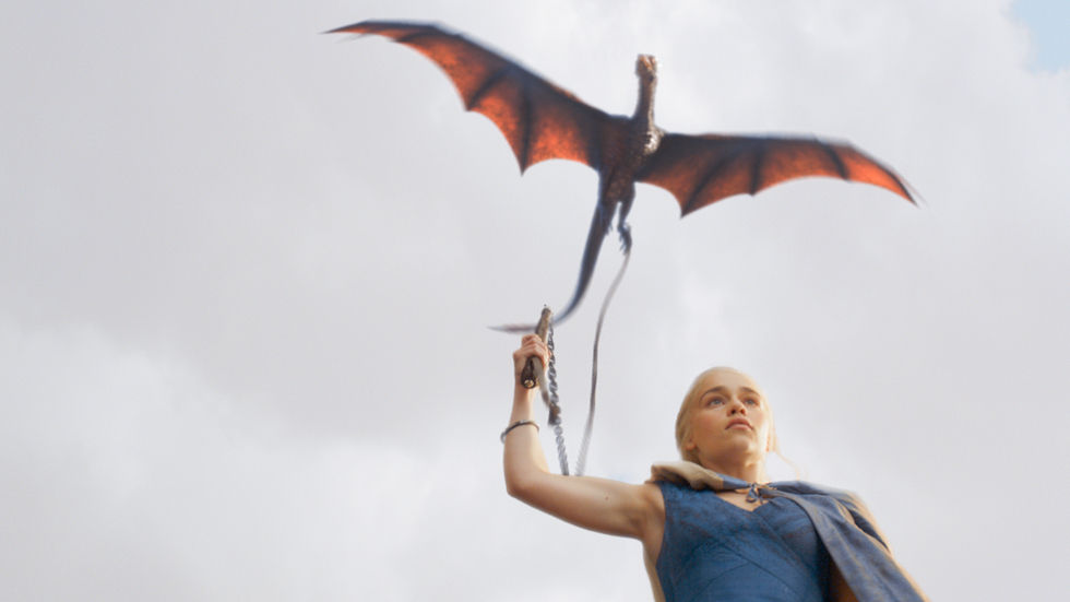 Khaleesi / Daenerys Targaryen with flying dragon on chain.