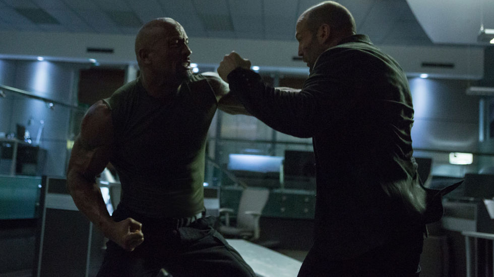 Dwayne Johnson and Jason Statham in Fast and Furios