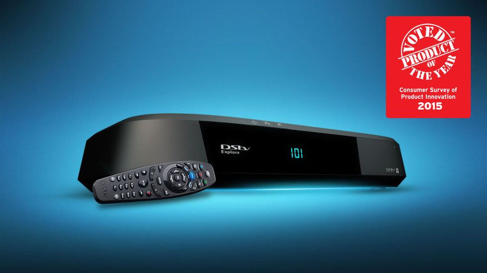The DStv Explora on blue background with Product of the Year branding