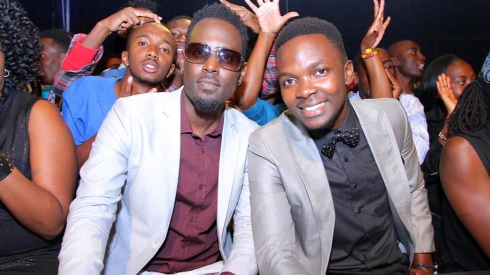 Maurice Kirya and Richy Kaweesa on the set of Maisha Superstar