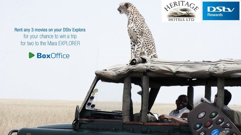 The rent and win a trip to the Maasai Mara with BoxOffice, artwork.
