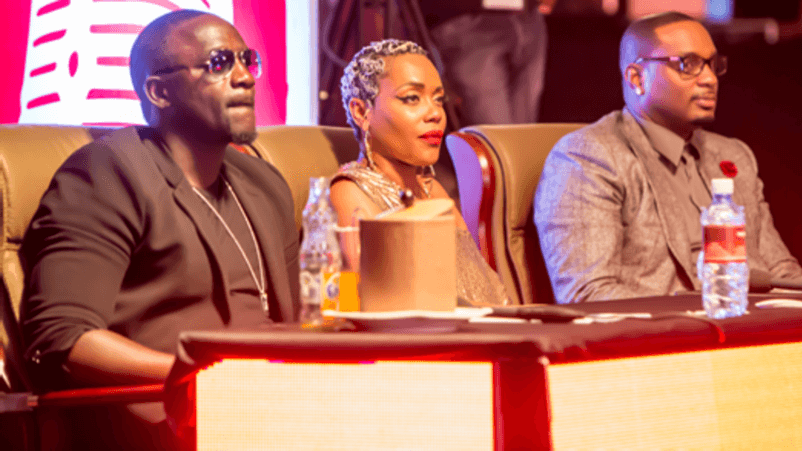 Akon, Lynnsha and Devyne Stephens as judges in the grande finale of Airtel Trace Music Star Copetition in Kenya