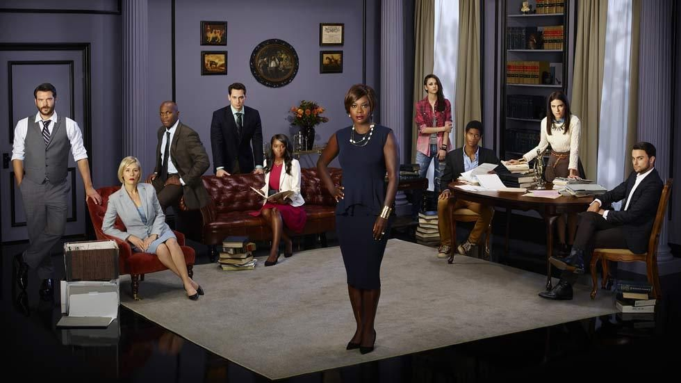 A cast photo on the set of How To Get Away With Murder, starring Viola Davis as Annalise Keating