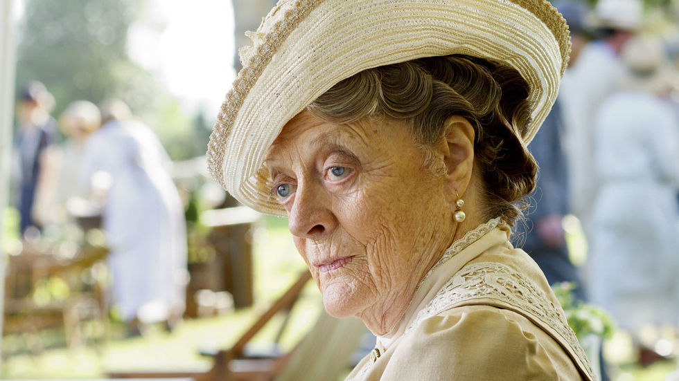 Dame Maggie Smith in a scene from Downton Abbey.
