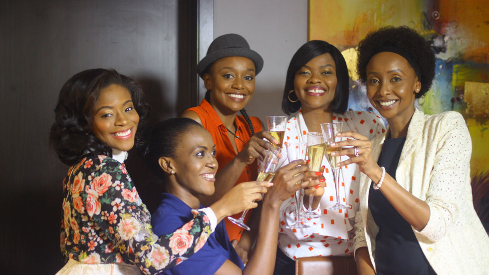 An image of the cast of Real Housewives Nini Wacera as Ese De Souza, Michelle Dede as Tari Gambadia, Marcy Dolapo Oni as Rume Bello and Linda Osifa as Rhetta Moore