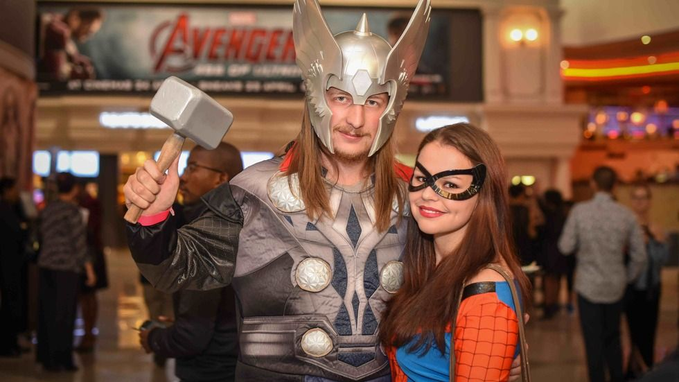 Avengers superfans pose for the camers