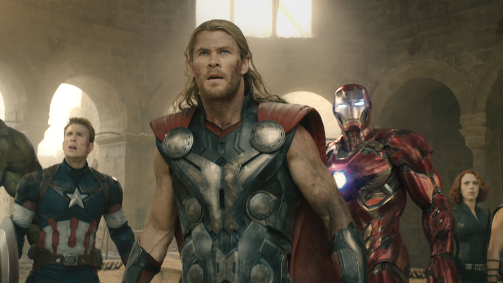 A group shot of the Avengers with Chris Hemsworth as Thor in the foreground.