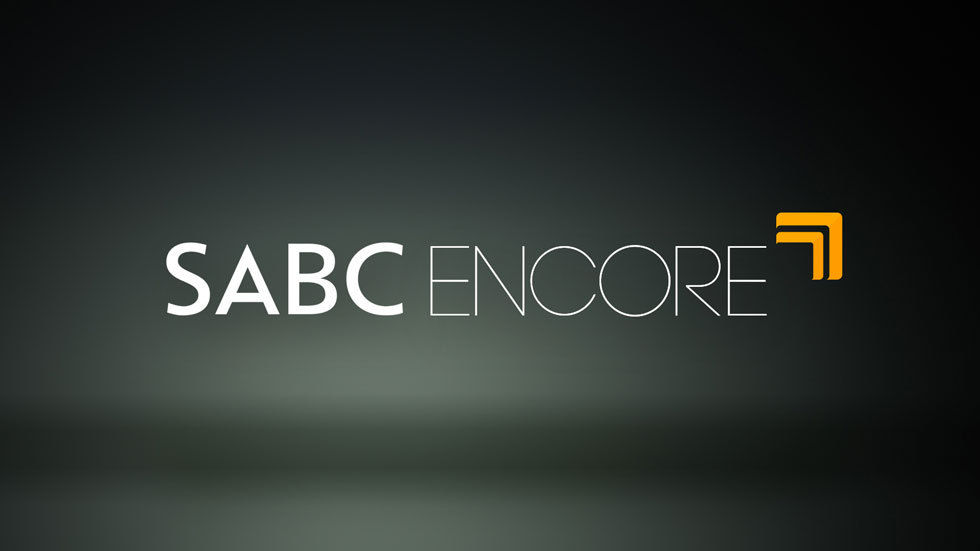 SABC Encore logo with grey and black background.