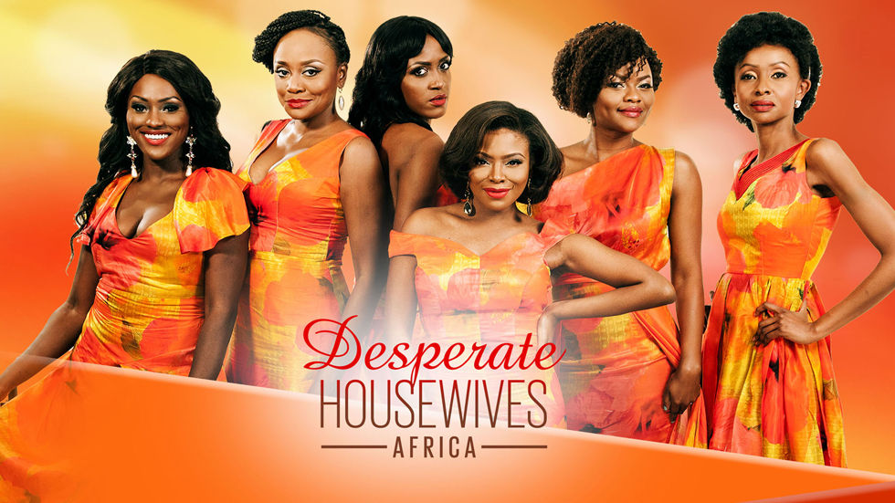 The poster for Desperate Housewives Africa with Michelle Dede as Tari Gambadia, Nini Wacera as Ese De Souza, Omotu Bissong as Funke Lawal and Marcy Dolapo Oni as  Rume Bello