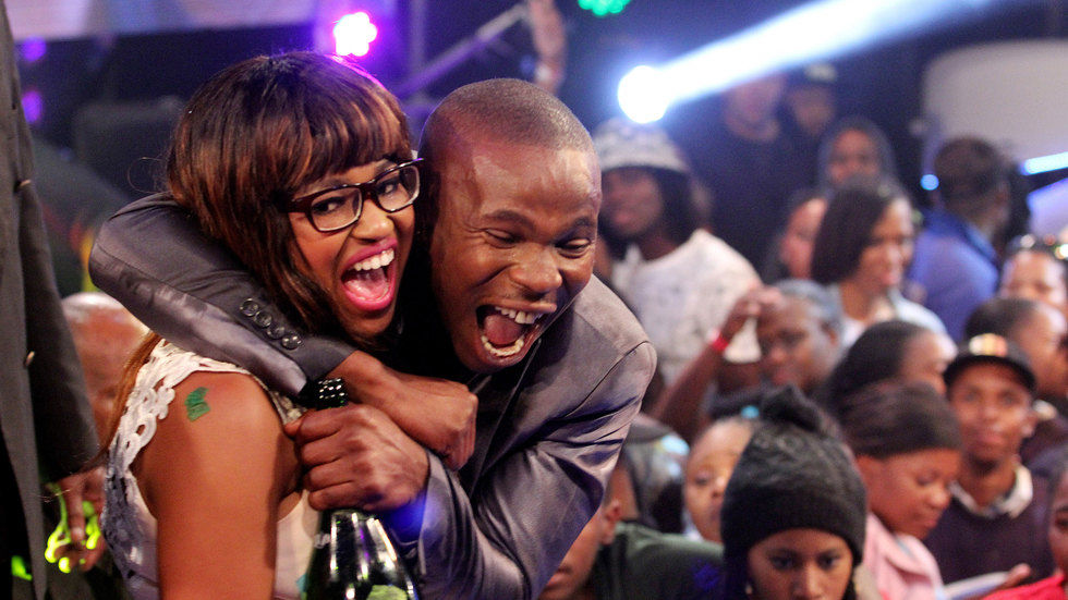 Ntombi and Ace celebrating winning Big Brother Mzanis