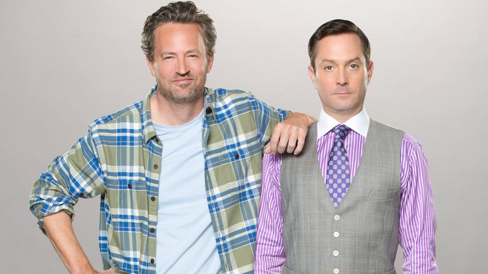 Matthew Perry standing with Thomas Lennon.