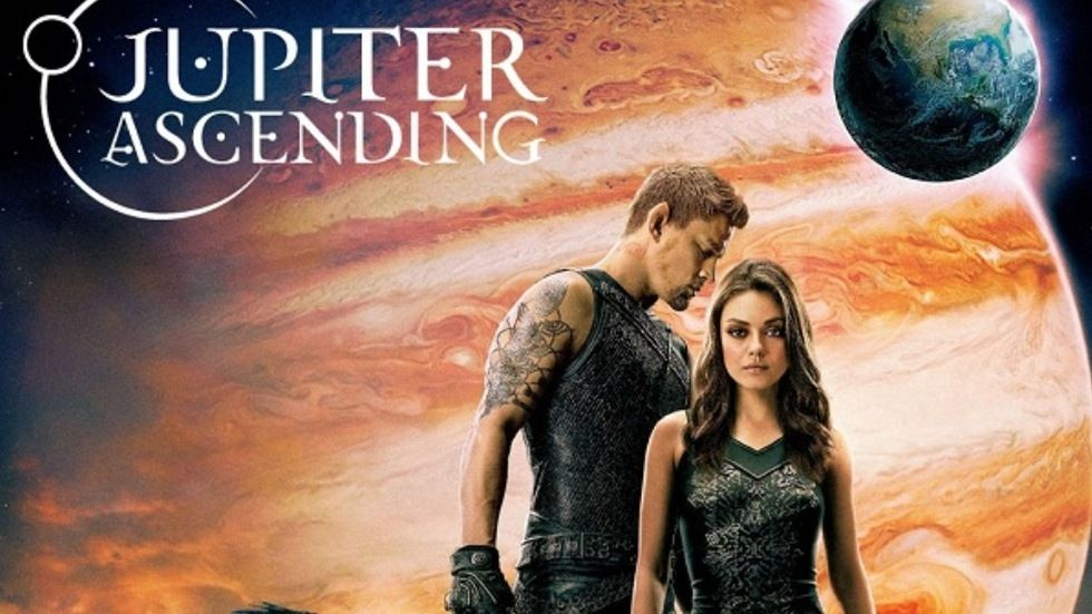 Mila Kunis and Channing Tatum on a poster for Jupiter Ascending.