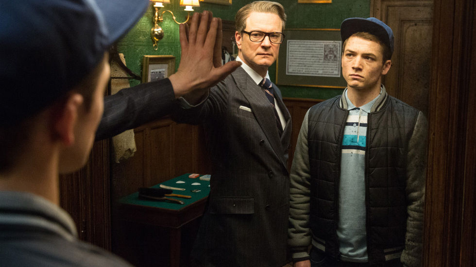 A picture of Colin Firth and Taron Egerton in Kingsmen: The Secret Service available to rent on BoxOffice.