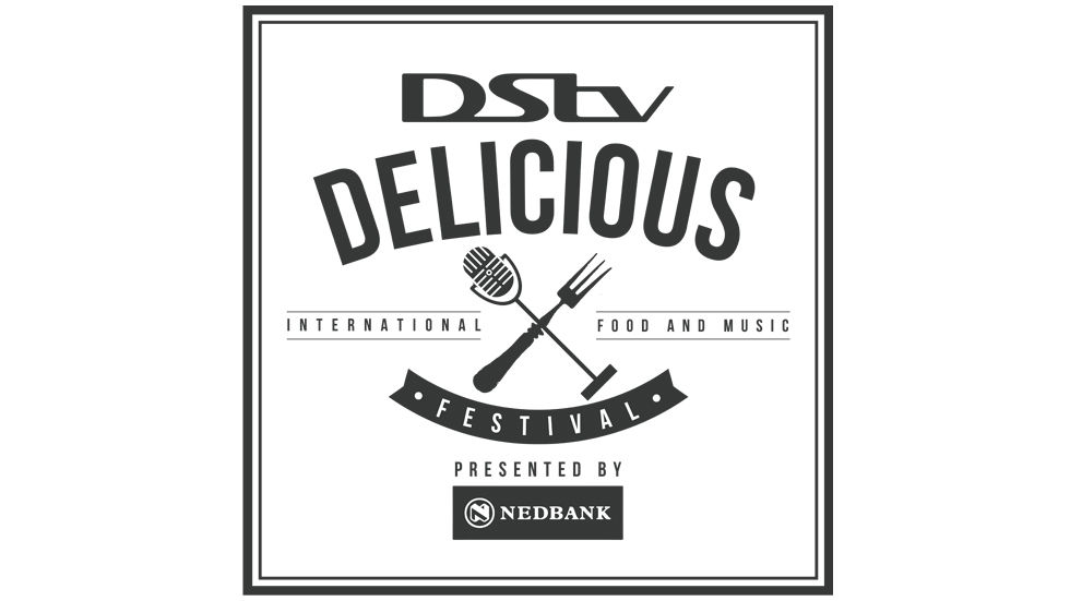 A logo for DStv Delicious International Food & Music Festival.
