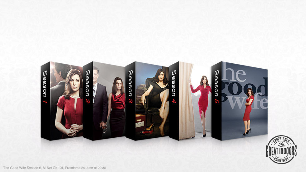 Posters from five seasons of The Good Wife available on DStv Catch Up.