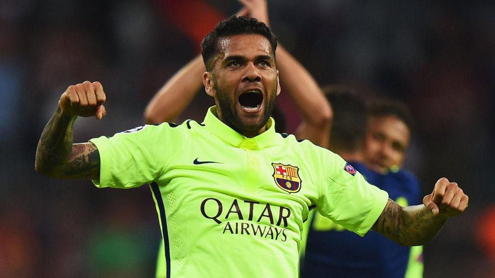 Daniel Alves of Barelona FC celebrates.