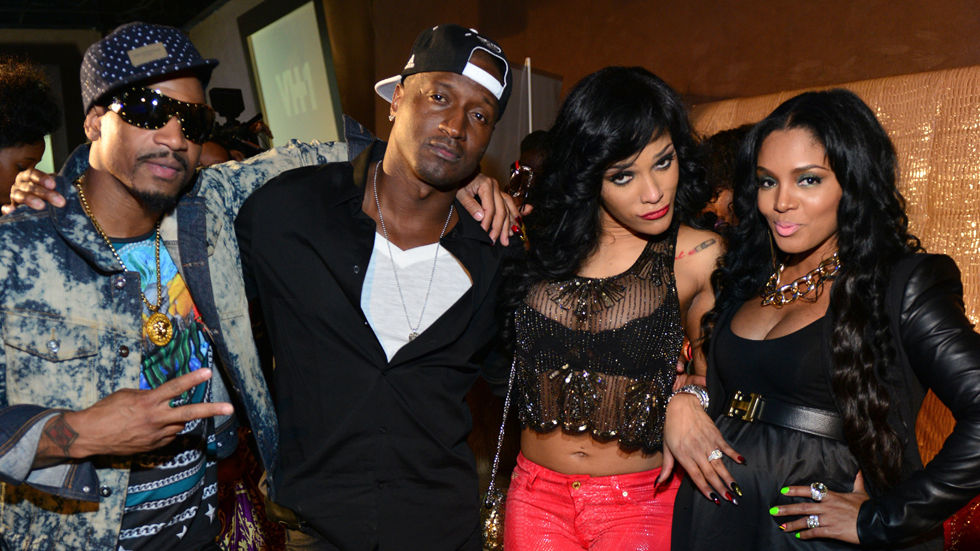 A Getty image of some of the cast from Love & Hip Hop Atlanta Kirk, Erica, Joseline and Stevie J