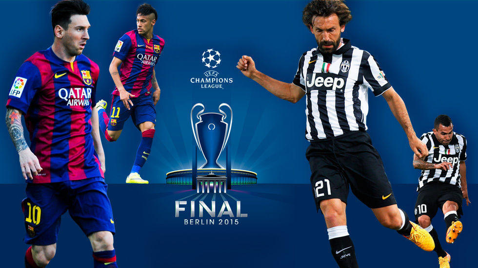 Football players for Barcelona and Juventus, Messi, Neymar, Tevez and Pirlo for the Uefa Champions League Final.