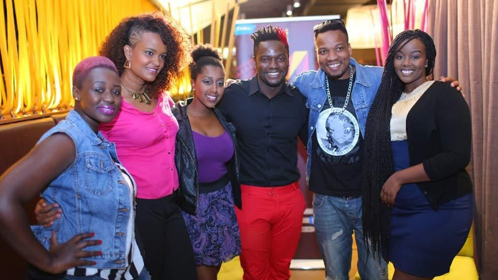 Big Brother Africa Hotshots contestants Alusa and Sabina, with memebers of Kenyan band, Elani