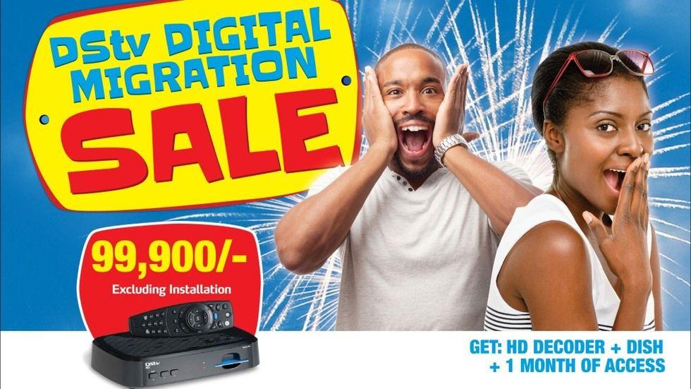 DStv Uganda digital migration sale poster.