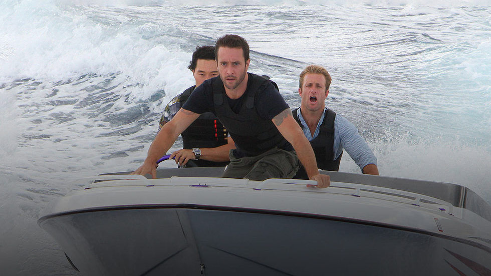 Daniel Dae Kim, Scott Caan and Alex O'Loughlin as Hawaii Five-O's Steve McGarrett, Danno Williams and Chin Ho Kelly on a speed boat.