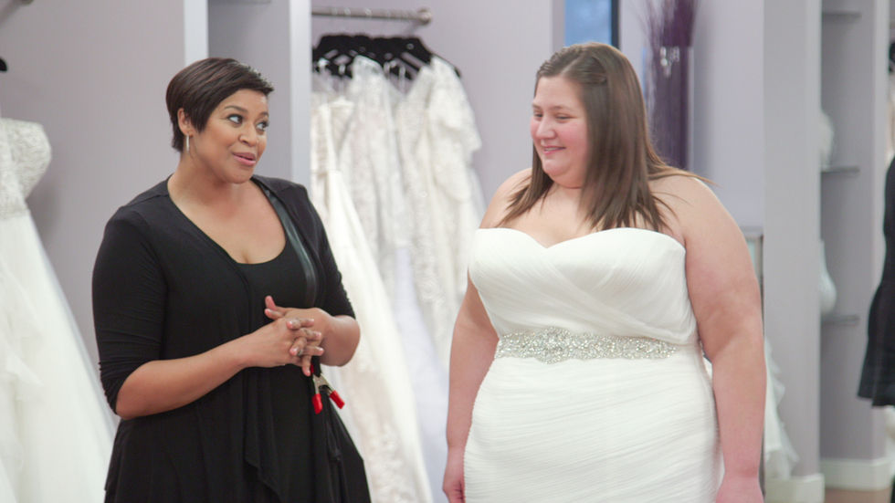 Yuneisia Harris with bride Rachael Berke who is wearing her chosen wedding dress on TLC Entertainment's Curvy Brides.