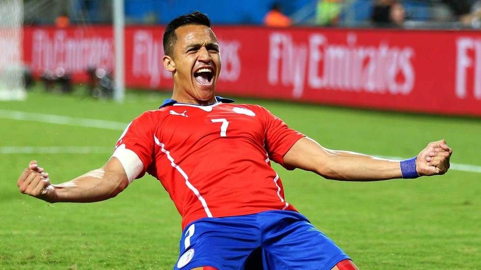 Alexis Sanchez of Chile celebrates a goal.