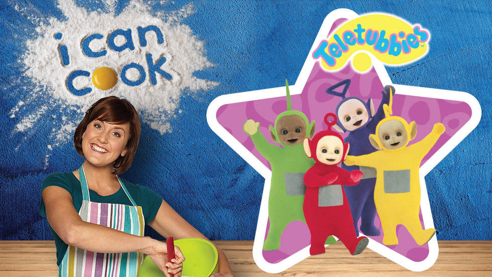 An image of Katy from CBeebies' I Can Cook and the Teletubbies.