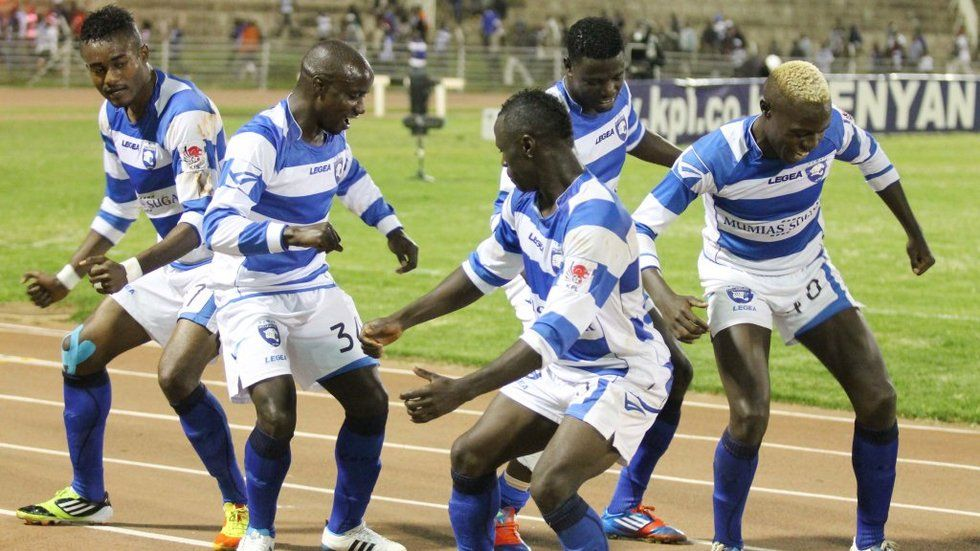 AFC Leopards players break into a dance after a win