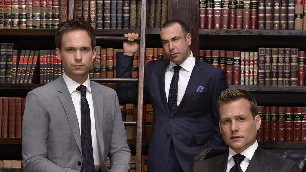 Patrick J. Adams, Rick Hoffman and Gabriel Macht as Mike, Louis and Harvey in Suits.