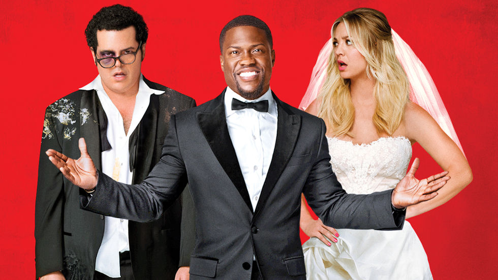 Josh Gad, Kevin Hart and Kaley Cuoco in The Wedding Ringer.