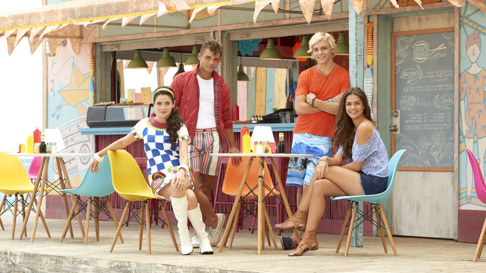Maia Mitchell, Ross Lynch, Garrett Clayton and Grace Phipps from Disney Channel's Teen Beach 2.