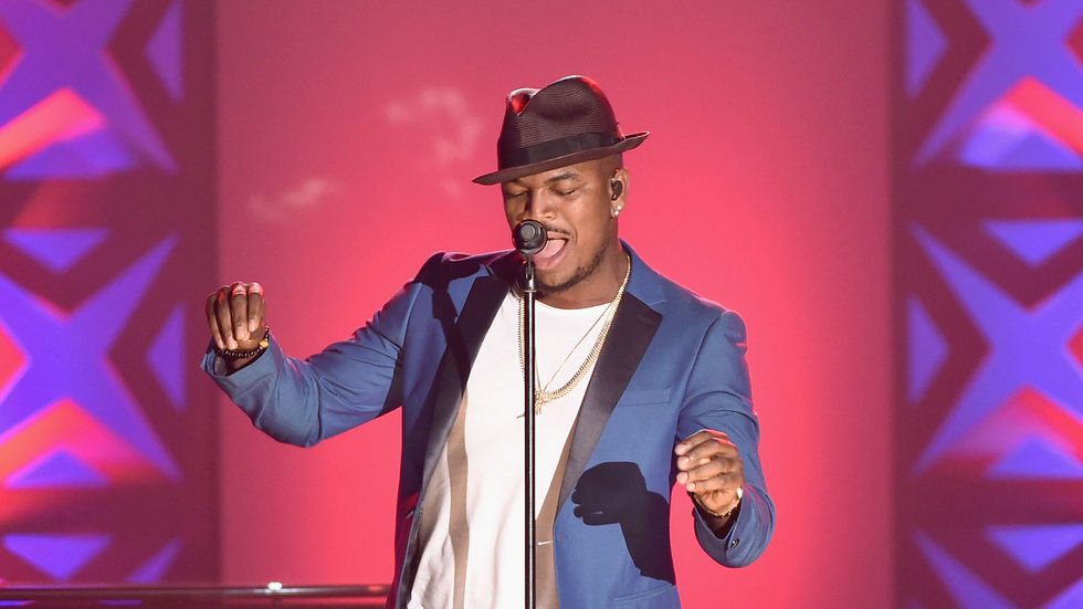 A Getty Image of Ne-Yo performing at the Songwriters Hall of Fame 46th Annual Induction and Awards show.