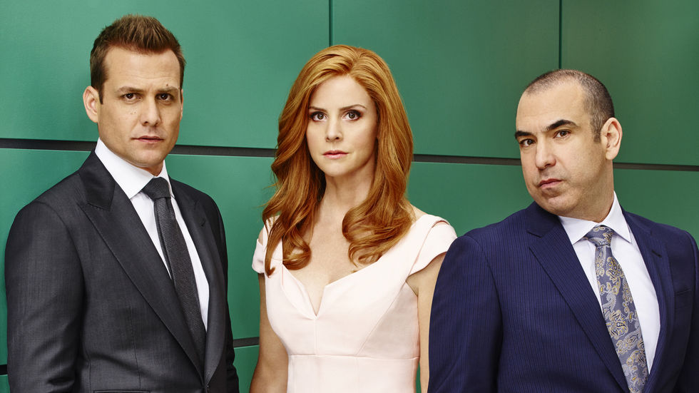 Gabriel Macht, Sarah Rafferty and Rick Hoffman as Harvey, Donna and Loius in Suits.
