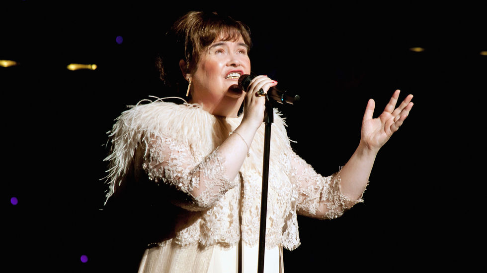A Getty image of Susan Boyle in concert.