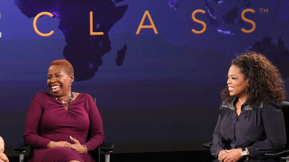 An image of Oprah and Iyanla Vanzant at the Single Mom's Lifeclass.