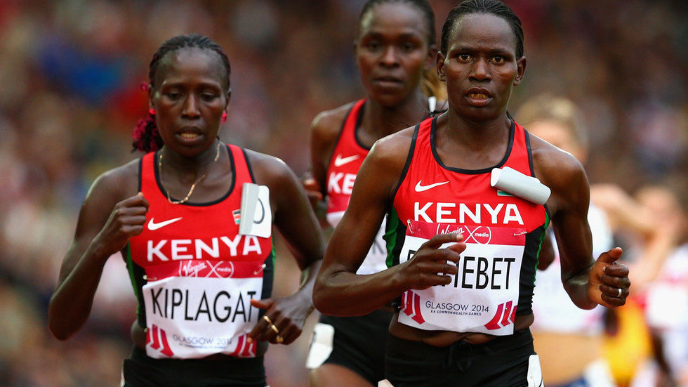 Emily Chebet of Kenya takes the lead.