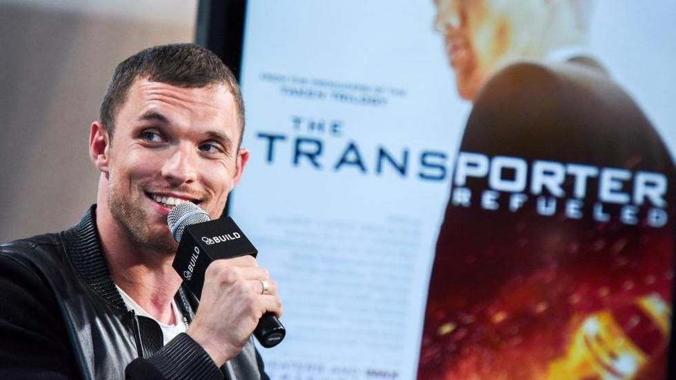 Ed Skrein during a Transporter Refuled conference